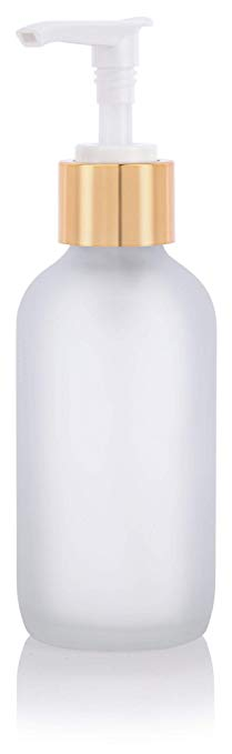 Glass Boston Round Bottle in Frosted Clear with Gold Lotion Pump - 4 oz / 120 ml