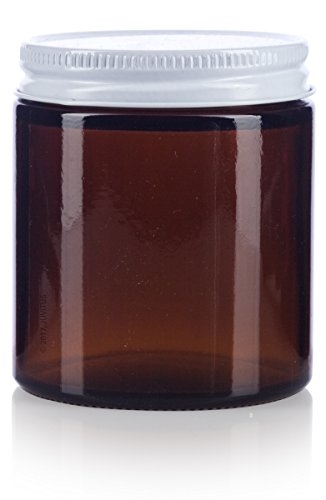 Glass Jar in Amber with White Metal Plastisol Lid - 4 oz / 120 ml