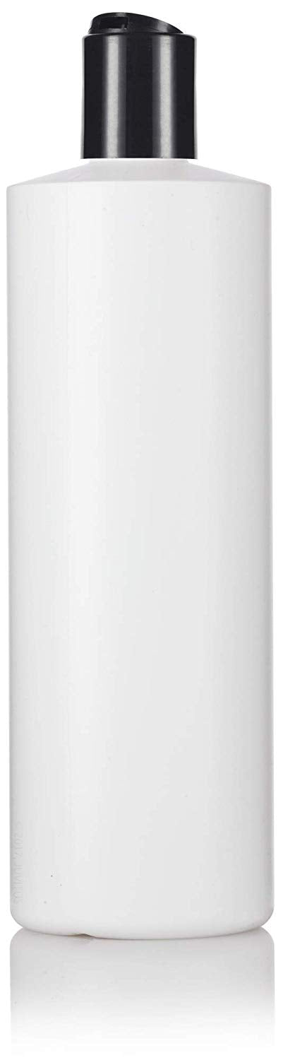 White Plastic Squeeze Cylinder Bottle with Black Disc Cap - 16 oz / 480 ml