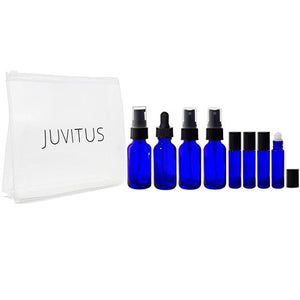 Cobalt Blue Glass 9-piece Starter Kit Set- 1 oz for DIY, Essential Oils, Aromatherapy, Travel and Home.