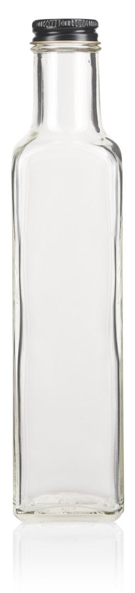 Clear Glass Square Bottle with Black Metal Lid - 8 oz / 250 ml