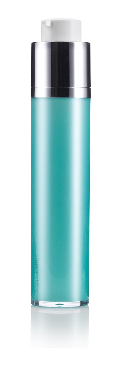 Twist Top Airless Pump Bottle in Teal Blue - 1.7 oz / 50 ml + Travel Bag