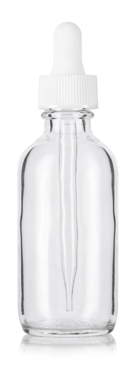 Clear Glass Boston Round Dropper Bottle with White Top - 2 oz / 60 ml