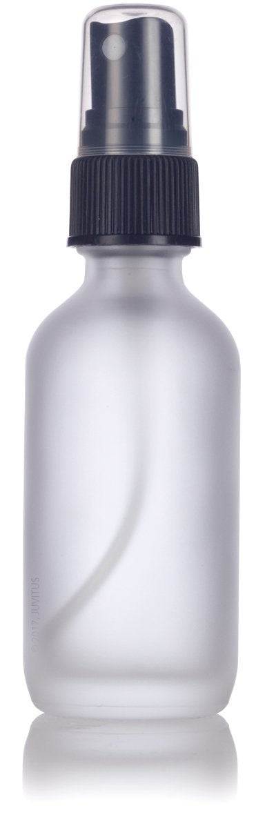 Glass Boston Round Bottle in Frosted Clear with Black Fine Mist Spray - 2 oz / 60 ml