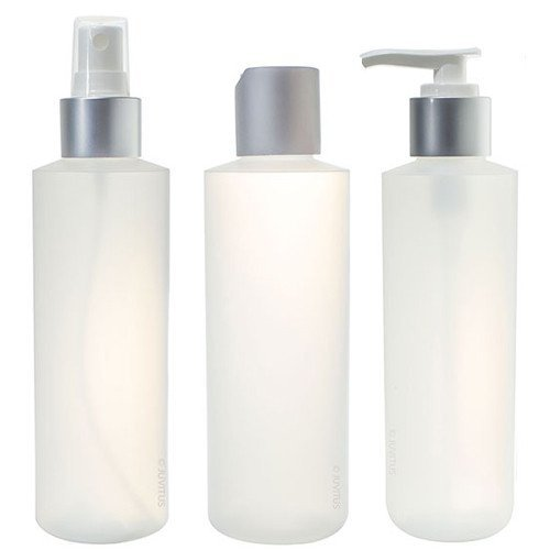 6 oz Clear Natural Refillable Plastic Squeeze Bottle with Silver Closure Set - Spray Bottle, Disc Cap Bottle & Pump Bottle (3 pack)