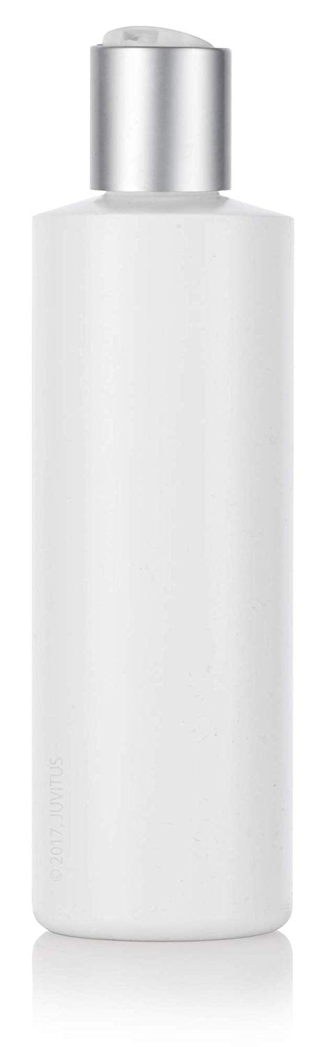 White Plastic Squeeze Cylinder Bottle with Silver Disc Cap - 8 oz / 250 ml