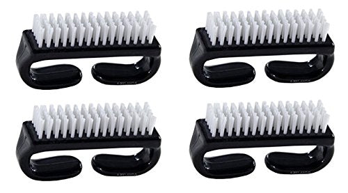 Nail Brush with Durable Plastic Handle - Black, 4 Pack