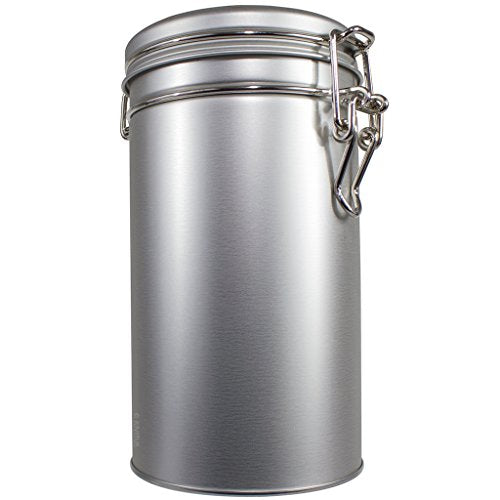 Stainless Steel Metal Tea Tin Canister with Tight Seal Latch, Coffee and Tea Container, For Dried Herbs and Spices, Loose Leaf Tea, Flour and Sugar - 12 oz (holds 12 oz of dry goods)