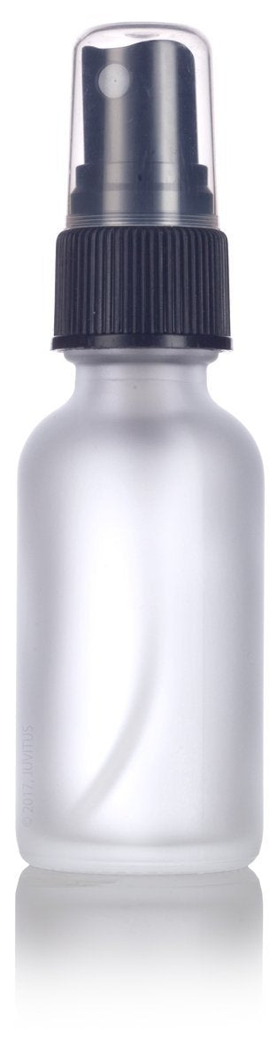 Frosted Clear Glass Boston Round Fine Mist Spray Bottle with Black Sprayer - 1 oz / 30 ml