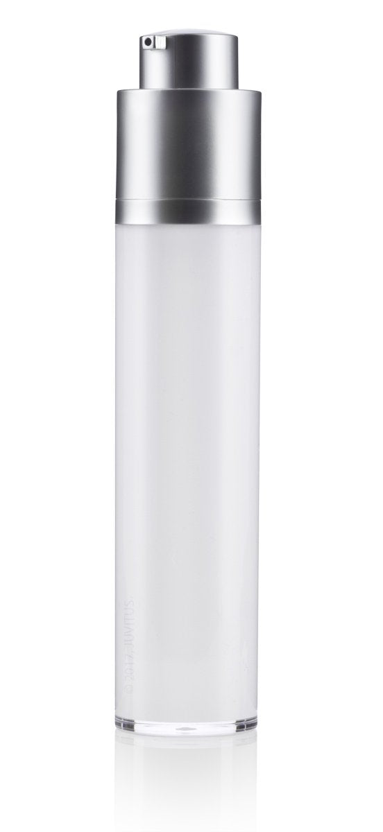 Twist Top Airless Pump Bottle in White Silver Matte - 1.7 oz / 50 ml + Travel Bag