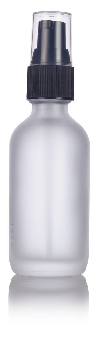 Frosted Clear Glass Boston Round Treatment Pump Bottle with Black Top - 2 oz / 60 ml