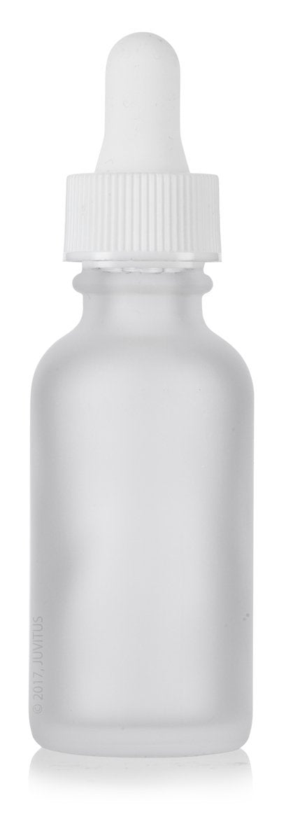 1 oz Frosted Clear Glass Boston Round White Dropper Bottle + Funnel and Labels
