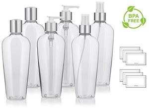 8 oz Clear PET (BPA Free) Plastic Tapered Oval Refillable Luxury Bottle Set with Silver Tops with 2 each: Fine Mist Sprayers, Lotion Pumps, and Disc Caps (6 pack) + Labels