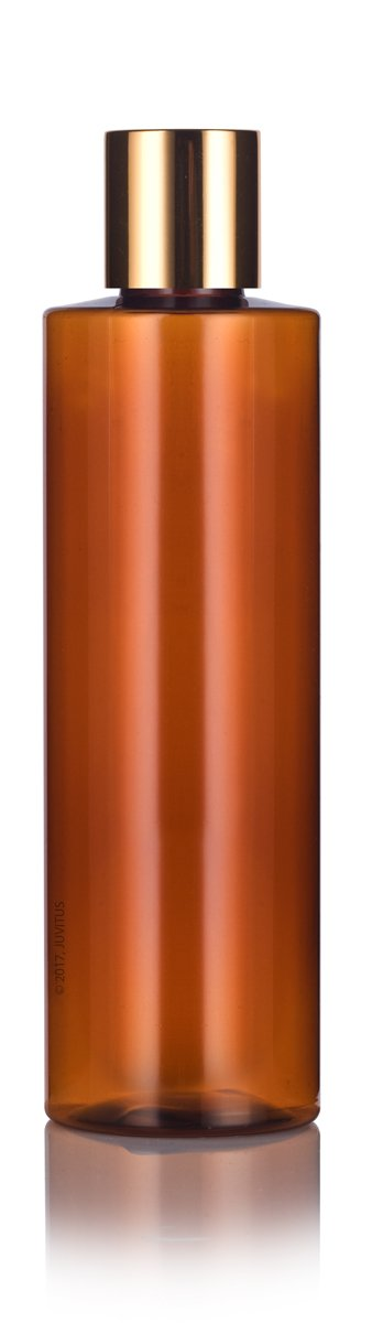Amber Plastic Cylinder Bottle with Gold Disc Cap - 8 oz / 250 ml