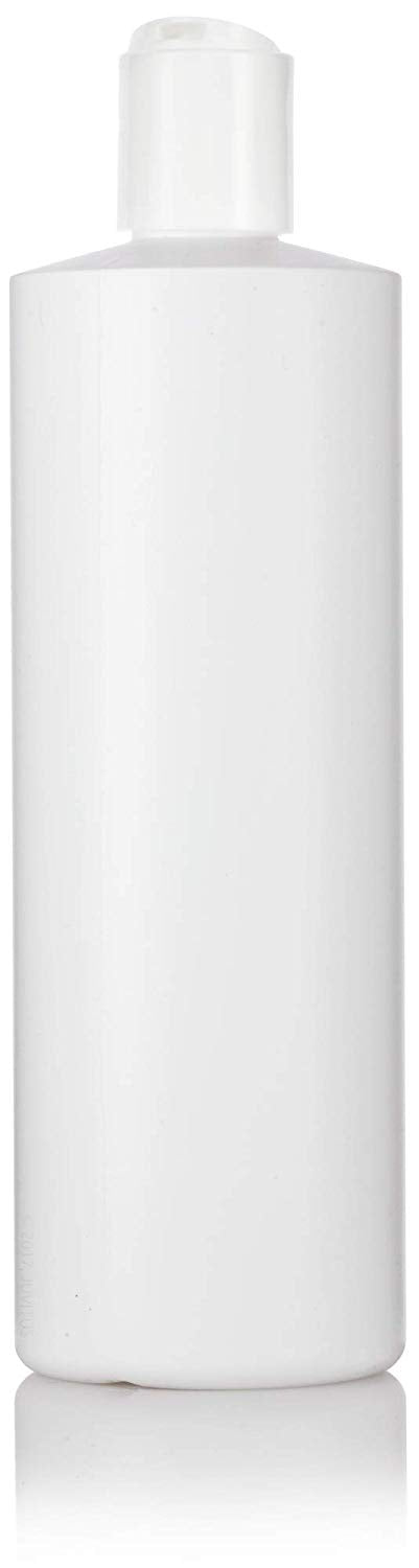 White Plastic Squeeze Cylinder Bottle with White Disc Cap - 16 oz / 480 ml