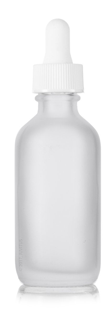 Frosted Clear Glass Boston Round Dropper Bottle with White Top - 2 oz / 60 ml