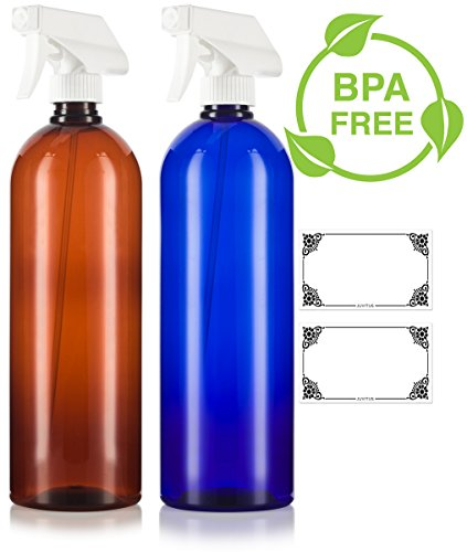 Amber and Cobalt Blue 32 oz Large Boston Round PET Bottles (BPA Free) with White Trigger Spray Set -2 PACK + Labels