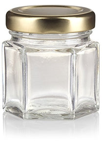 Glass Hexagon Jar in Clear with Gold Metal Plastisol Lid - 1.5 oz / 45 ml