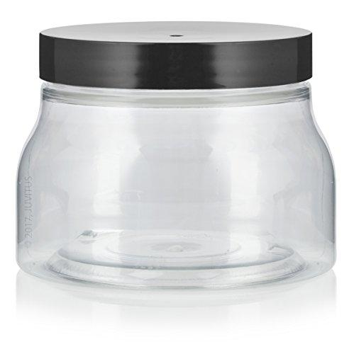 Plastic Tuscany Jar in Clear with Black Foam Lined Lid - 8 oz / 240 ml