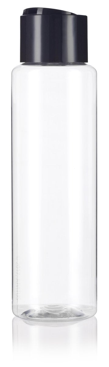 Clear Plastic Professional Cylinder Bottle with Wide Black Disc Cap - 16 oz / 500 ml