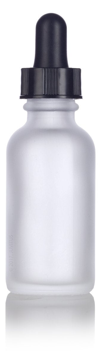 Frosted Clear Glass Boston Round Dropper Bottle with Black Top - 1 oz / 30 ml