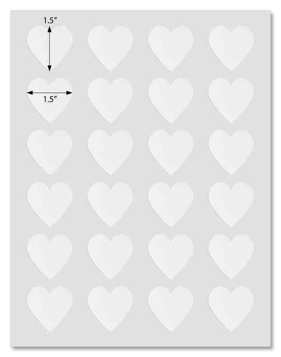 Waterproof White Matte Heart Shaped Labels, 1.5 x 1.5 Inches, for Laser Printers with Downloadable Template and Printing Instructions, 5 Sheets, 120 Labels (KL15)