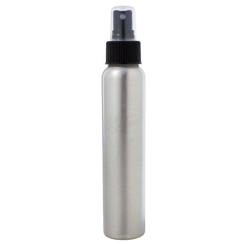 Silver Metal Aluminum Bottle with Black Fine Mist Spray - 4 oz / 120 ml