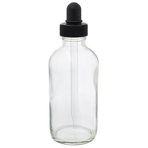 Clear Glass Boston Round Dropper Bottle with Black Top - 4 oz / 120 ml