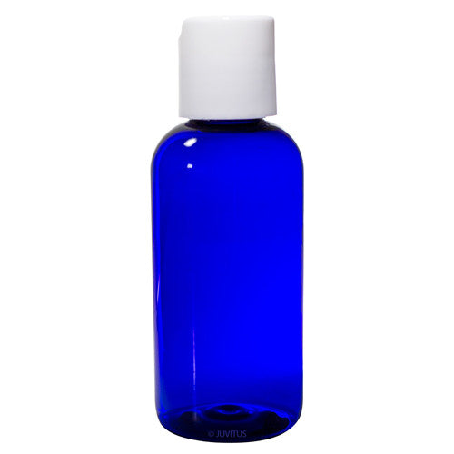 Plastic Boston Round Bottle in Cobalt Blue with White Disc Cap - 4 oz / 120 ml