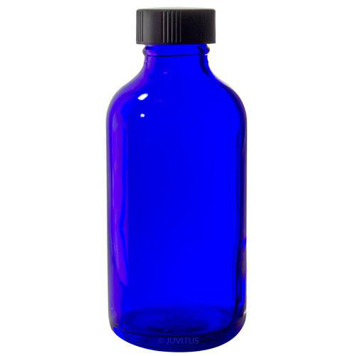 Cobalt Blue Glass Boston Round Bottle with Black Phenolic Cap - 4 oz / 120 ml