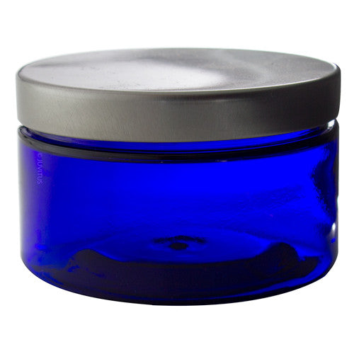 Plastic Jar in Cobalt Blue with Silver Metal Foam Lined Lid - 4 oz / 120 ml