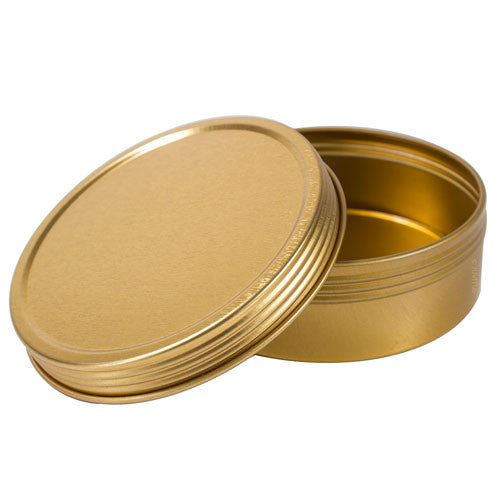 Gold Metal Steel Tin Flat Container with Tight Sealed Twist Screwtop Cover Lid - 4 oz + Labels