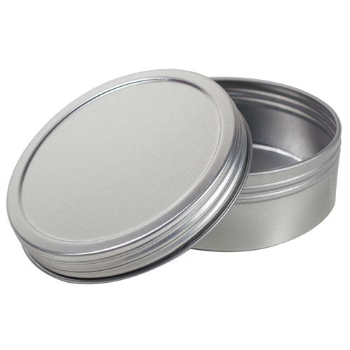 Metal Steel Tin Flat Container with Tight Sealed Twist Screwtop Cover - 4 oz + Labels