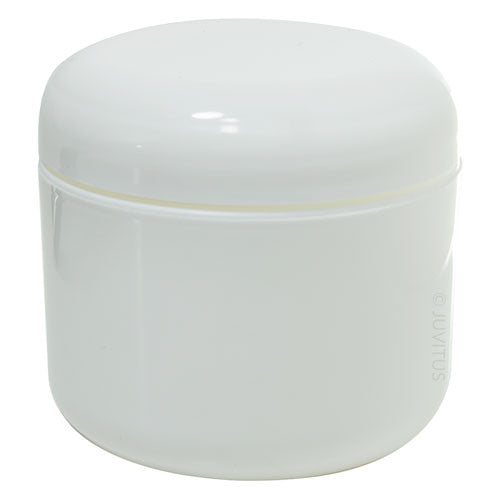 Plastic Double Wall Jar in White with White Dome Foam Lined Lid - 4 oz / 120 ml
