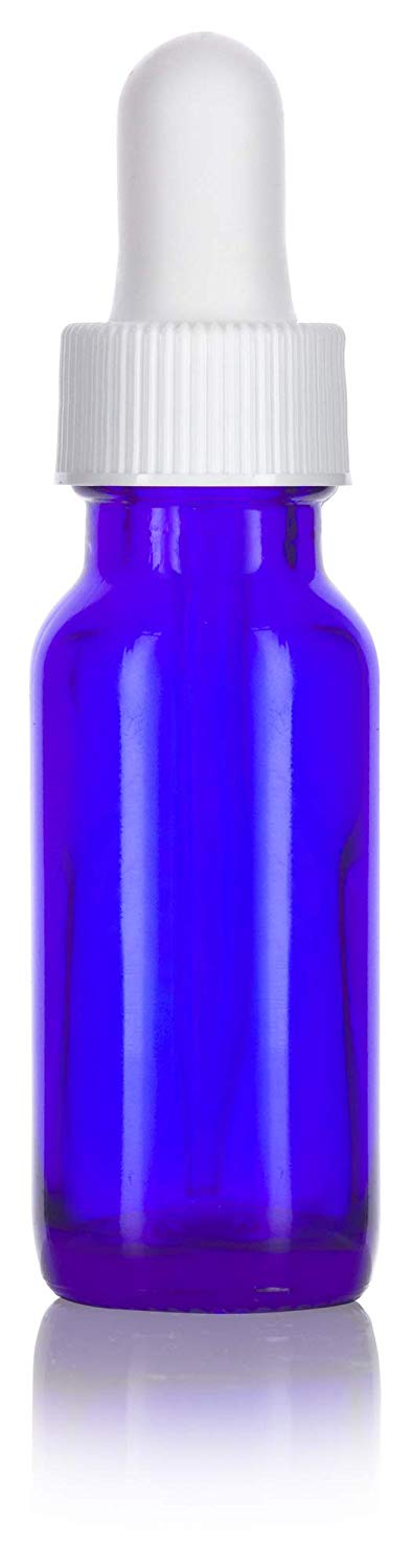 Cobalt Blue Glass Boston Round Dropper Bottle with White Top - .5 oz / 15 ml