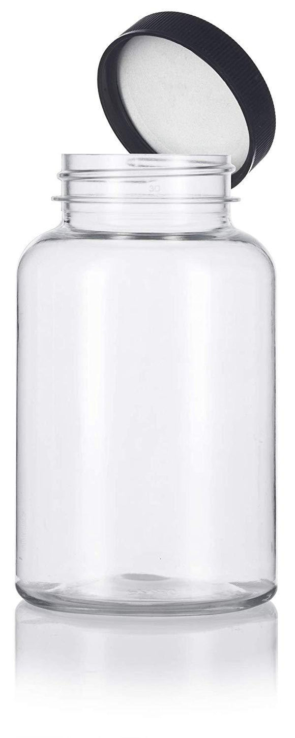 Clear Plastic Wide Mouth Packer Bottle with Black Ribbed Lid - 8 oz / 250 ml