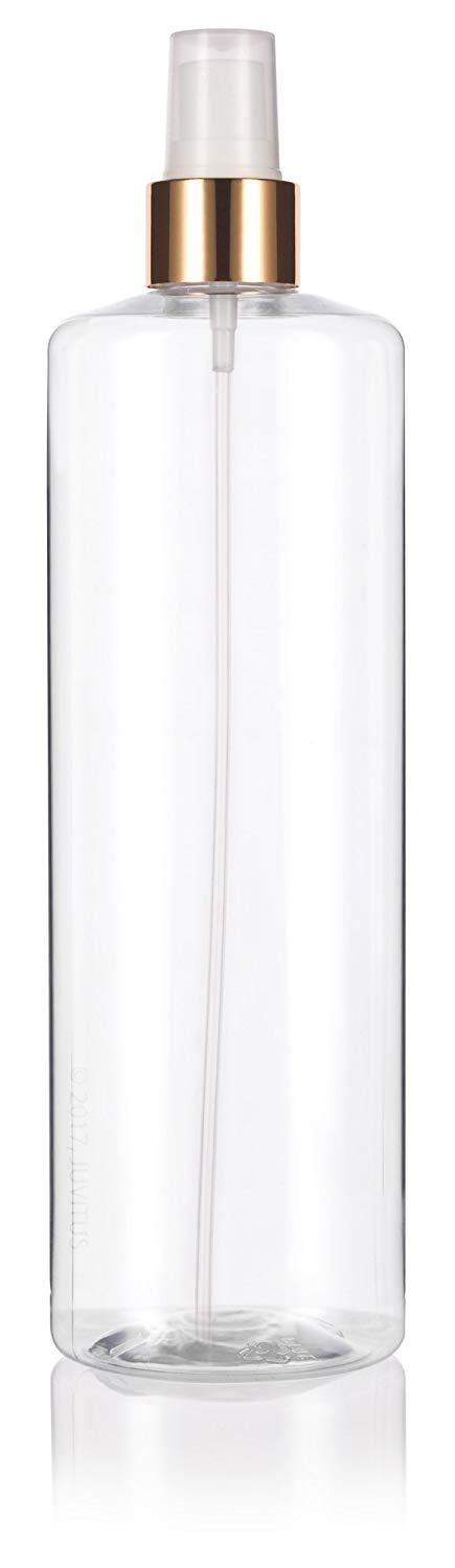 Clear Plastic Professional Cylinder Bottle with Gold Fine Mist Sprayer - 16 oz / 500 ml