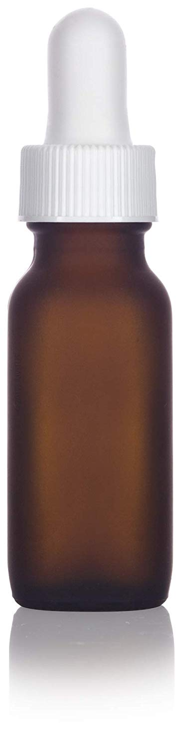 Frosted Amber Glass Boston Round Dropper Bottle with White Top - .5 oz / 15 ml