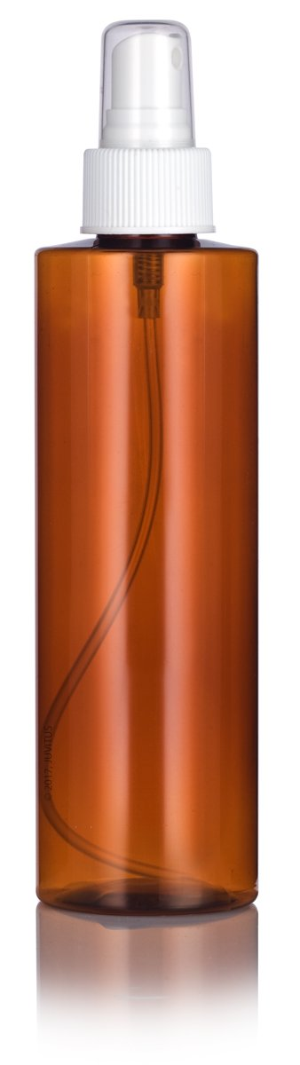 Amber Plastic Cylinder Bottle with White Fine Mist Spray - 8 oz / 250 ml