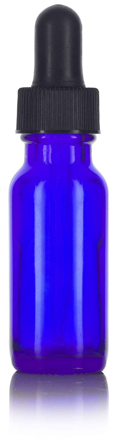 Cobalt Blue Glass Boston Round Dropper Bottle with Black Top - .5 oz / 15 ml - JUVITUS