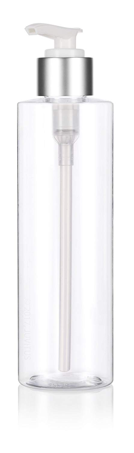 Clear Plastic Professional Cylinder Bottle with Silver Lotion Pump - 8 oz / 250 ml