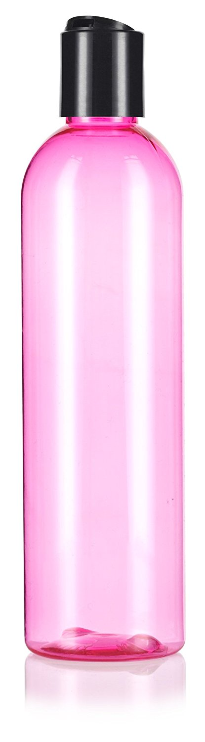 Pink Plastic Slim Cosmo Bottle with Black Disc Cap - 8 oz / 250 ml