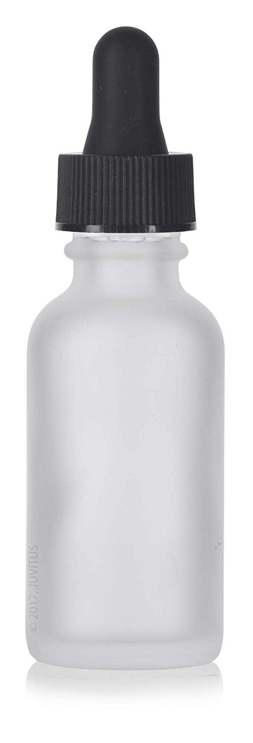 Frosted Clear Glass Boston Round Dropper Bottle with Graduated Measurement Glass Black Top - 1 oz / 30 ml