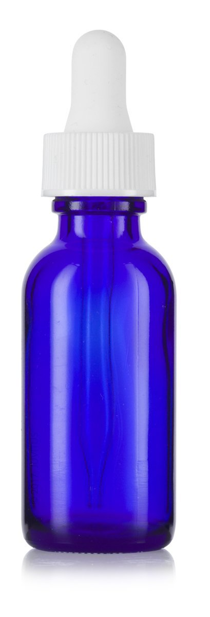 1 oz Cobalt Blue Glass Boston Round White Dropper Bottle + Funnel and Labels