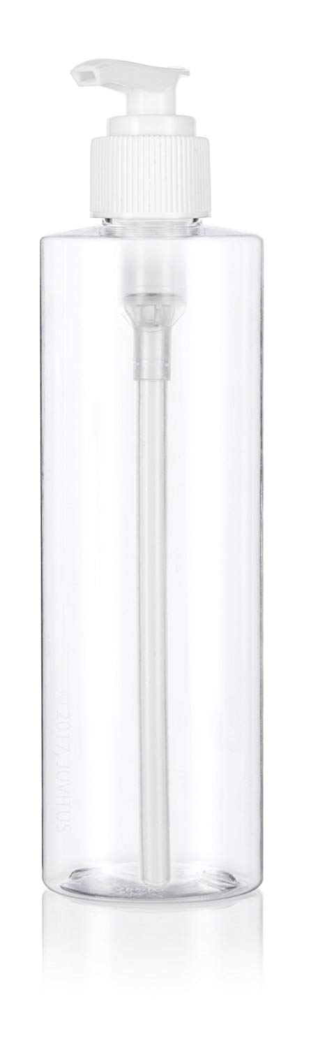 Clear Plastic Professional Cylinder Bottle with White Lotion Pump - 8 oz / 250 ml - JUVITUS