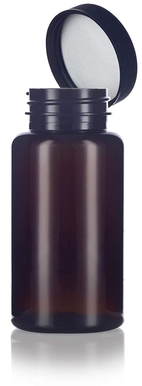 Amber Plastic Wide Mouth Packer Bottle with Black Ribbed Lid - 5 oz / 150 ml
