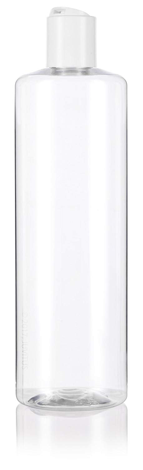 Clear Plastic Professional Cylinder Bottle with White Disc Cap - 16 oz / 500 ml