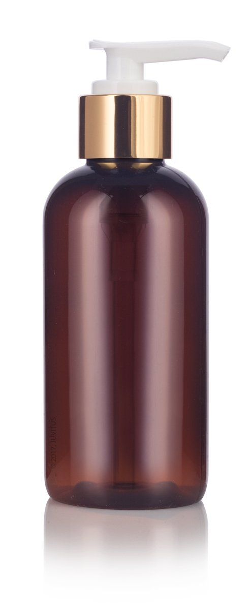 Plastic Boston Round Bottle in Amber with Gold Lotion Pump - 4 oz / 120 ml