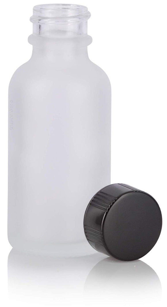 Glass Boston Round Bottle in Frosted Clear with Black Phenolic Cap - 1 oz / 30 ml