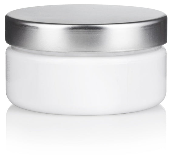 White Refillable Low Profile PET Plastic (BPA Free) Jar with Silver Metal Lid - 2 oz + Spatulas and Labels